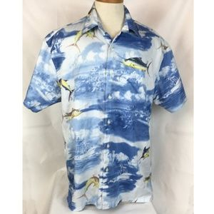 Nautica Shirt Size Large Blue Button Down SS Fish